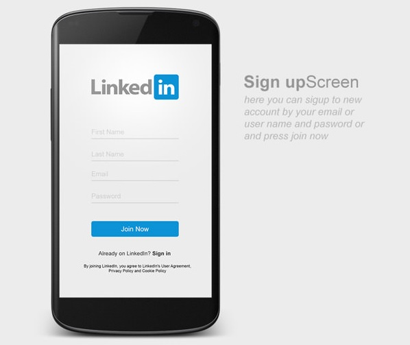 LinkedIn Android App - Sign Up screen