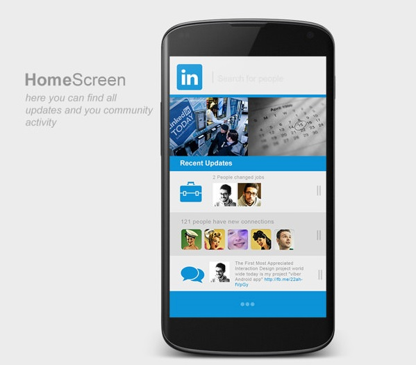 LinkedIn Android App - Home Screen