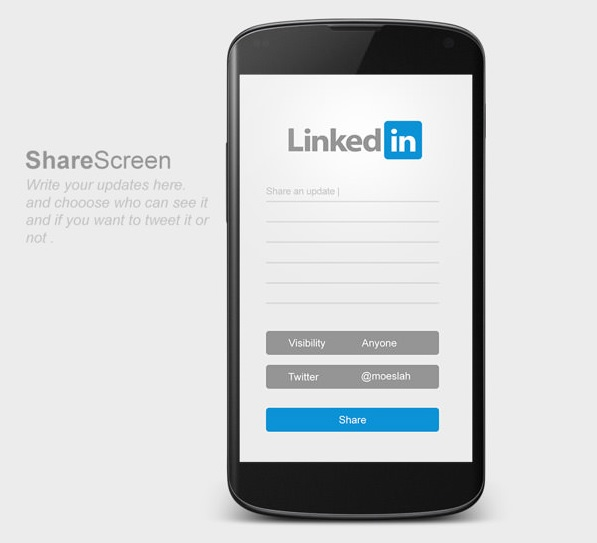 LinkedIn Android App - Share Screen